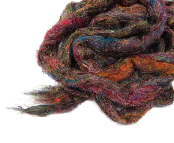 Pulled Tussah Silk Roving, color: Multi Mix PS-11