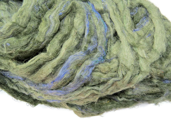 Pulled Tussah Silk Roving, color: Moss