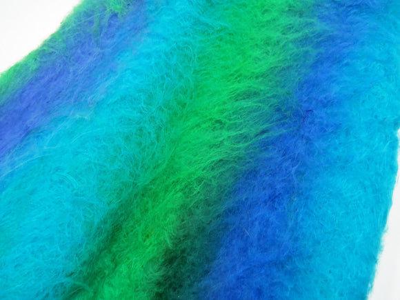 Mulberry silk Lap hand-dyed in tones of Blues / Greens and cold tones.