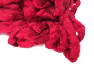 Pulled Mulberry Silk Roving, color: Passion Red