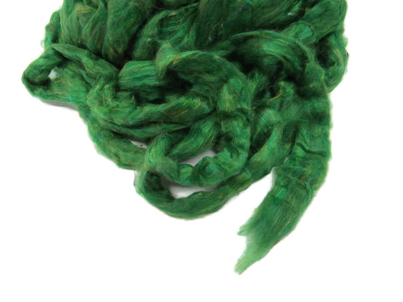 Pulled Mulberry Silk Roving, color: Leaf Green