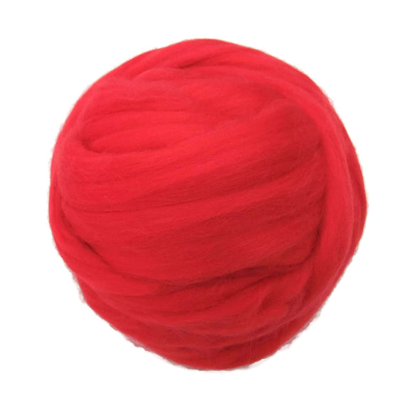 Merino / Silk  Roving, (Lake) Tomato Red