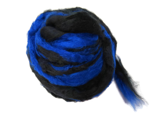 Pulled Mulberry butter Silk Roving, Royal blue/ black