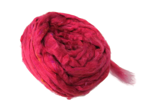 Pulled Mulberry butter Silk Roving, Raspberry