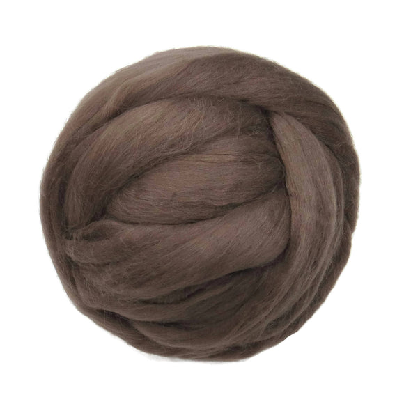 Merino / Silk Roving, color: ( Ash brown )- Beautiful warm Tone Mulberry Wool Silk Blend Fiber for Spinning & Felting