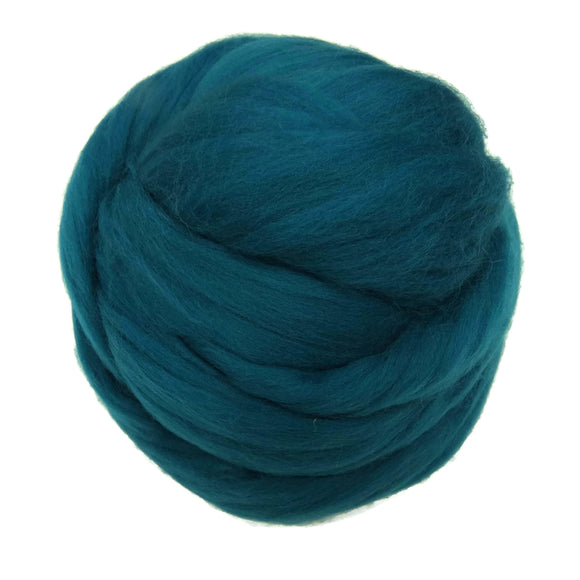 NEW! Superfine Merino wool roving 19 microns , Color: Teal