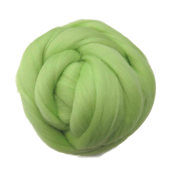 SALE! 21.5mic Merino Wool Roving , Color: Granny Smith