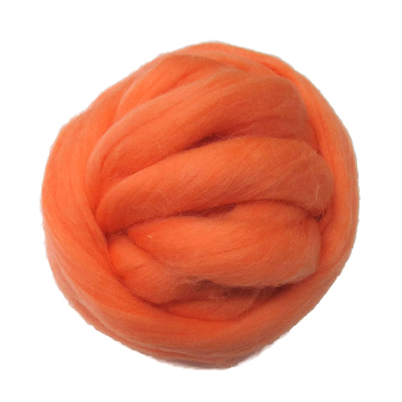 SALE! 21.5mic Merino Wool Roving , Color: Tangy Orange