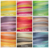 New! Superfine merino wool roving 19 microns 4 oz,Tempera Collection (Spirit of the Circus)