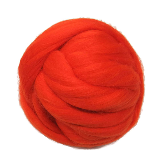 Merino / Silk Roving, color: ( Orange )- Beautiful warm Tone Mulberry Wool Silk Blend Fiber for Spinning & Felting