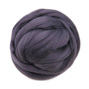 Merino / Silk Roving, color: ( Fog Gray )with purple hue - Beautiful Cool Tone Mulberry Wool Silk Blend Fiber for Spinning & Felting