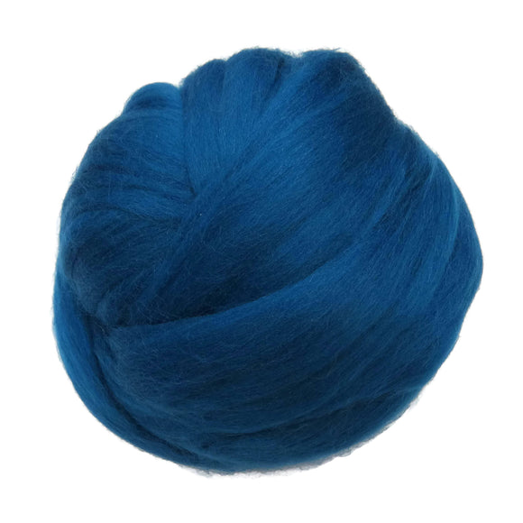 Merino / Silk Roving, color: ( Bay ) - Beautiful Cool Tone Mulberry Wool Silk Blend Fiber for Spinning & Felting