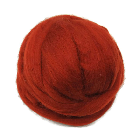 Merino / Silk Roving, color: ( Rust )- Neutral Color Mulberry Wool Silk Blend Fiber for Spinning & Felting