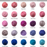 SALE! Superfine Merino 64s Wool Roving , Color: Candy Floss