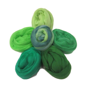 Felters Palette Merino Wool Roving - 5 Green Colors Superfine Wool Fibers Assortment (blended roving optional)