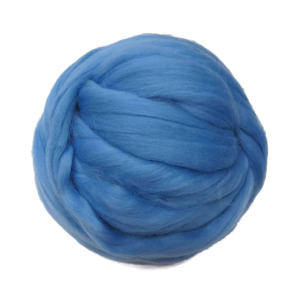 Merino / Silk Roving, Color: ( September ) - Beautiful cool Tone Mulberry Wool Silk Blend Fiber for Spinning & Felting
