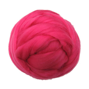 Merino / Silk Roving, Color: ( lipstick )- Beautiful warm Tone Mulberry Wool Silk Blend Fiber for Spinning & Felting