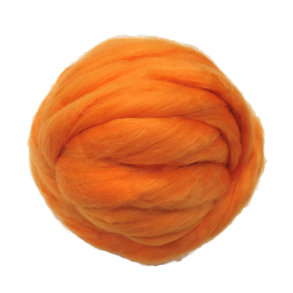 Merino / Silk Roving, Color: ( Melon ) - Beautiful warm Tone Mulberry Wool Silk Blend Fiber for Spinning & Felting