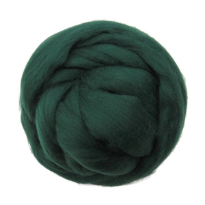 SALE! 21.5mic Merino Wool Roving , Color: Forest Green