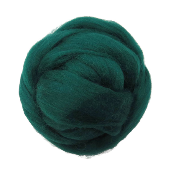 SALE! 21.5mic Merino Wool Roving , Color: Hunter Green