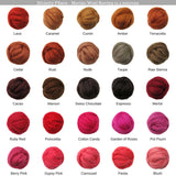 SALE! 21.5mic Merino Wool Roving , Color: Merlot