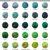 SALE! Superfine Merino 64s Wool Roving , Color: Conifer