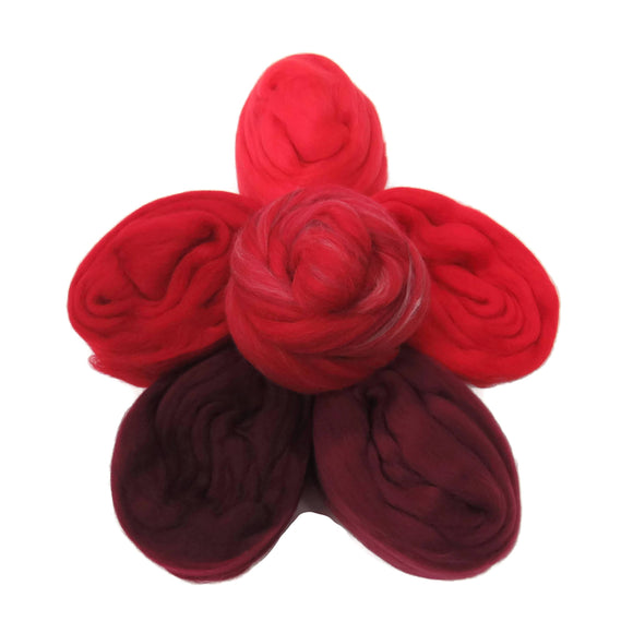 Felters Palette Merino Wool Roving - 5 Red Colors Superfine Wool Fibers Assortment (blended roving optional)