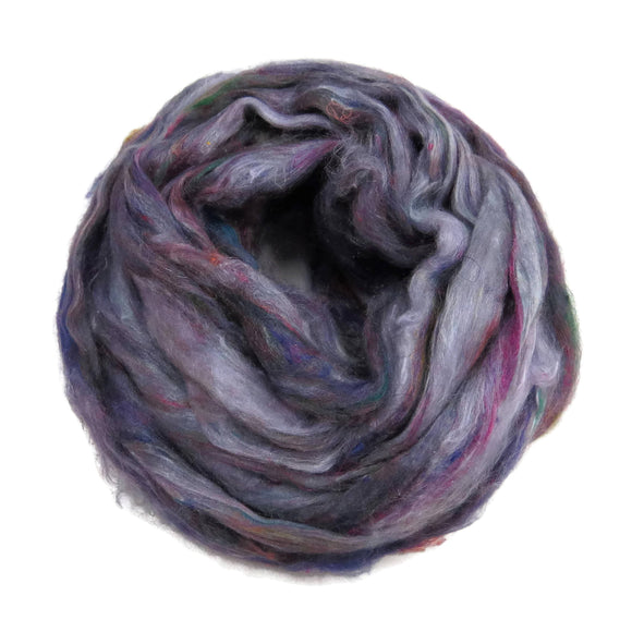 Pulled Tussah Silk Roving, color: Multi Mix (PS-7)