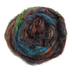 Pulled Tussah Silk Roving, color: Multi Mix (PS-9)