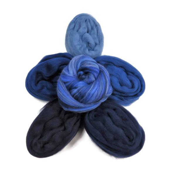 Felters Palette Merino Wool Roving Kit- 5 Denim Blue Colors Superfine Wool Fibers Assortment (blended roving optional)