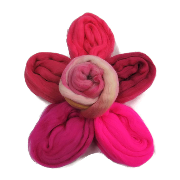 Felters Palette Merino Wool Roving Fit- 5 Flash pinks Colors Superfine Wool Fibers Assortment (blended roving optional)