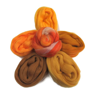 Felters Palette Merino Wool Roving Kit- 5 Golden yellows Colors Superfine Wool Fibers Assortment (blended roving optional)