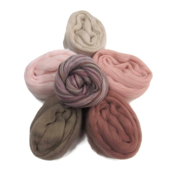 Felters Palette Merino Wool Roving Kit - 5 Sea Shell Colors Superfine Wool Fibers Assortment (blended roving optional)
