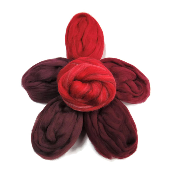 Felters Palette Merino Wool Roving Kit - 5 Dark reds Colors Superfine Wool Fibers Assortment (blended roving optional)