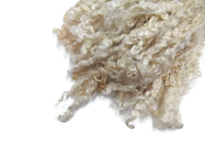First Clip Kid Mohair wool locks , colour Natural White  WM-3