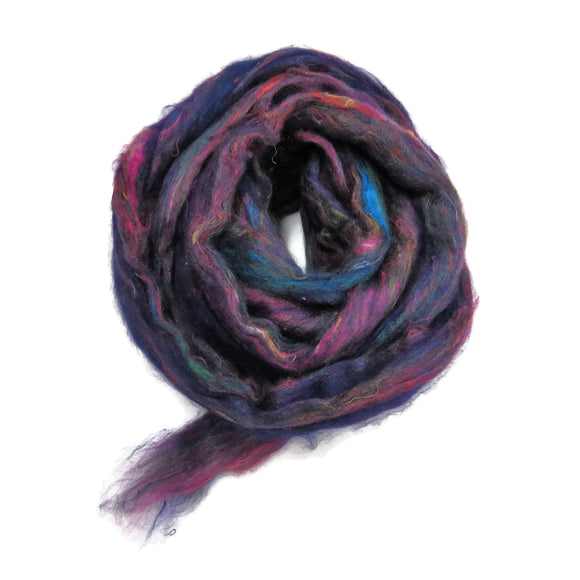 Pulled Tussah Silk Roving, color: Multi Mix (PS-1)
