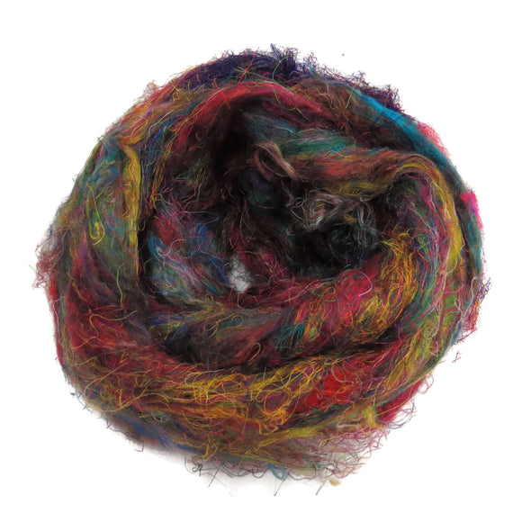 Pulled Tussah Sari Silk Roving, color: Multi Mix (PS-2)