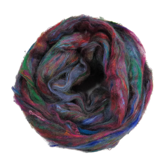 Pulled Tussah Silk Roving, color: Multi Mix (PS-4)