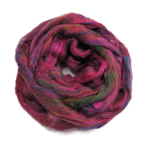 Pulled Tussah Silk Roving, color: Multi Mix (PS-5)