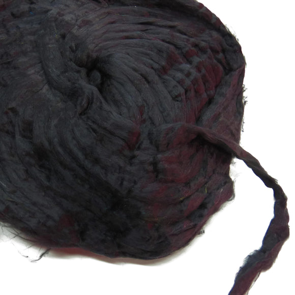 Sale! Pulled Mulberry Silk Roving, color: Black, 1oz (28g)