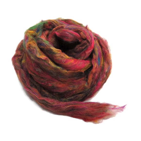 Pulled Tussah Silk Roving, color: Fuschia Multi Mix (PS-12)