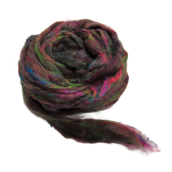 Pulled Tussah Silk Roving, color: Multi Mix (PS-13)
