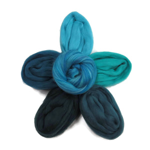 Felters Palette Merino Wool Roving Kit - 5 Turquoise Blues Colors Superfine Wool Fibers Assortment (blended roving optional)
