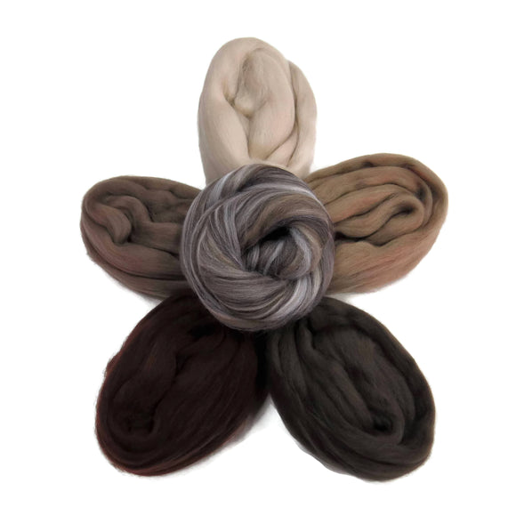 Felters Palette Merino Wool Roving Kit- 5 Neutrals Colors Superfine Wool Fibers Assortment (blended roving optional)