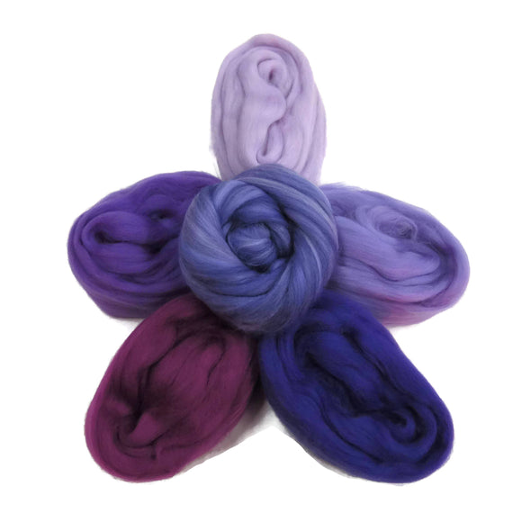 Felters Palette Merino Wool Roving Kit- 5 Purples Colors Superfine Wool Fibers Assortment (blended roving optional)