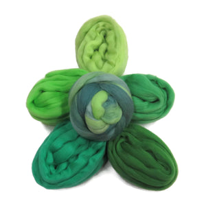 Felters Palette Merino Wool Roving Kit - 5 Bright Greens Colors Superfine Wool Fibers Assortment (blended roving optional)