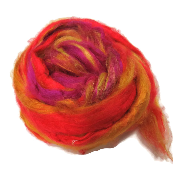 Pulled Tussah Silk Roving, color: Multi Mix (PS-21)