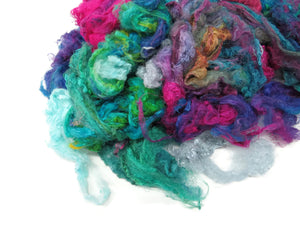 Throwster Silk Fiber hand-dyed , color: Multi Mix Cold tones , 1oz (28g)