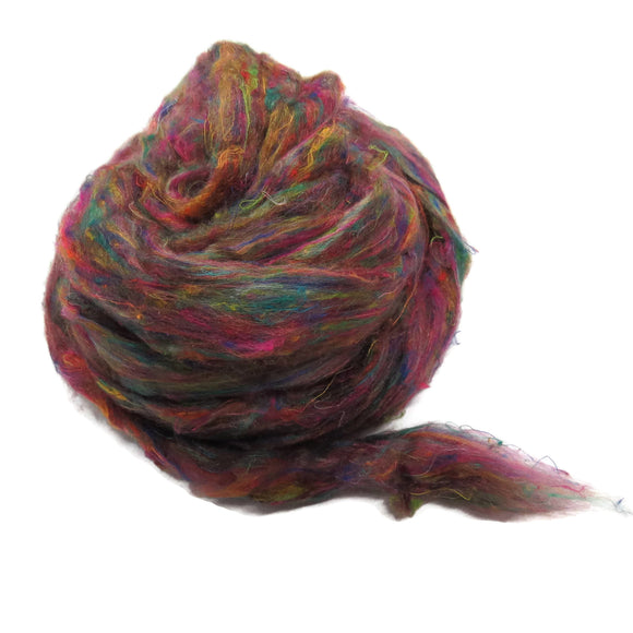 Pulled Tussah Silk Roving, color: Multi Mix (PS-18)