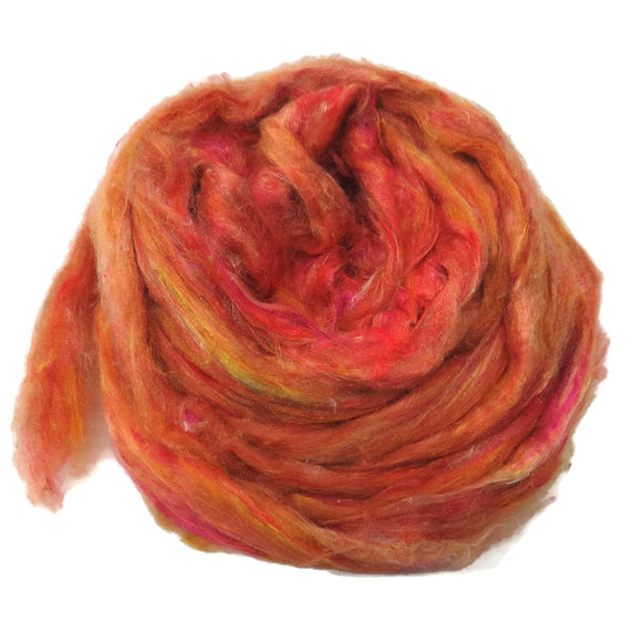 Pulled Tussah Silk Roving, color: Multi Mix (PS-22)